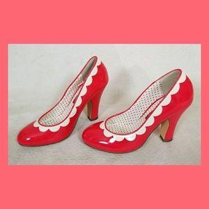 Shiny red hot heels